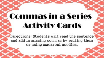 Commas in a Series Cards
