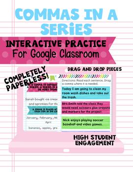 Commas in a Series- Interactive Google Classroom Practice