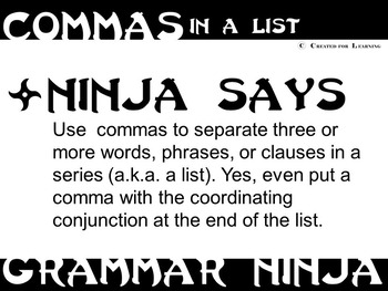 Commas in a Series (List) PowerPoint - Grammar Ninja Rules