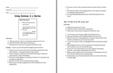 Commas in a Series Note Sheet and Practice