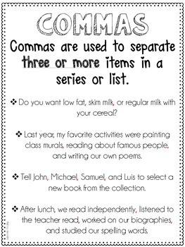 Commas in a Series Resources {Common Core Supplement (L.5.2a)}