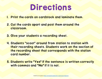 Commas in a Series SCOOT or Task Cards