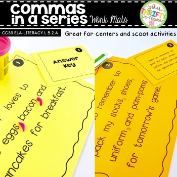 Commas in a Series Work Mats for Centers and Scoot Activities