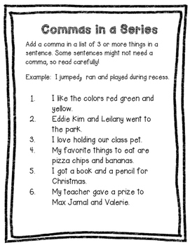 Commas in a Series Worksheet