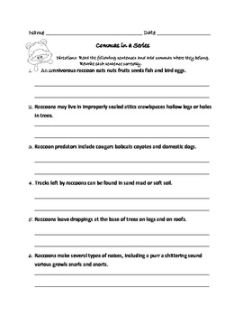 Commas in a Series Worksheets : Raccoon Theme