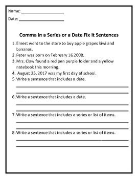 Commas in a Series or a Date Fix it Sentences