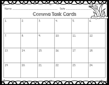 Commas in a list, address, date Task Cards