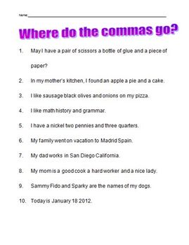 Commas in a series worksheet - second grade - Elementary by Joanne ...