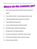 Commas in a series worksheet - second grade - Elementary