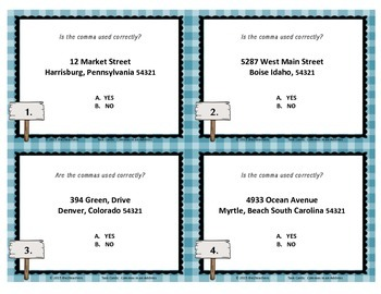 Commas in an Address Task Cards
