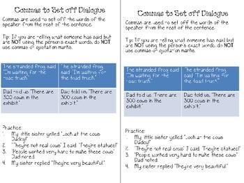 Commas to Set Off Dialogue