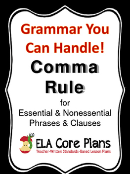 Commas to set off Nonrestrictive/Nonessential Elements ~ Teach ...
