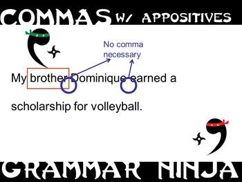 Commas w Appositives PowerPoint Grammar Ninja Rules