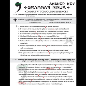 Commas W Compound Sentences Grammar Ninja By Created For Learning