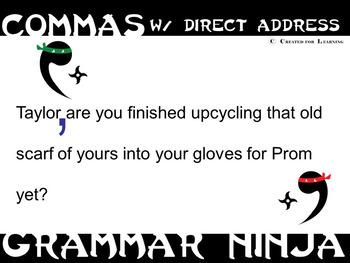 Commas w Direct Address PowerPoint Grammar Ninja Rules