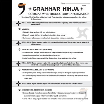 Commas w/ Introductory Clauses & Phrases - Grammar Ninja
