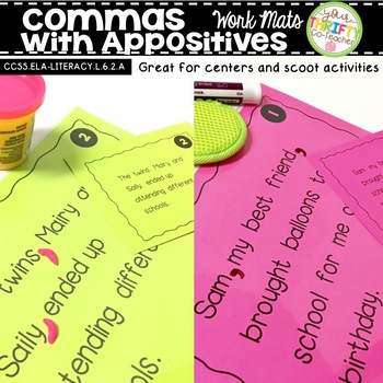 Comma Rules Appositives Work Mats for Centers & Scoot Activities ELA TEST PREP