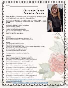 Comme des Enfants Coeur de Pirate Beginner French Song Activities