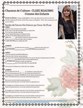 Comme des Enfants Coeur de Pirate French Song Activities for Subject Pronouns