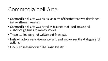 Commedia dell Arte PowerPoint Presentation