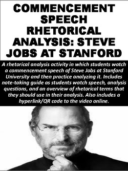 rhetorical analysis speech steve jobs Rhetorical analysis stev jobs commencemnent speech throughout this speech, steve jobs successfully convinces the multicultural graduate population at the stanford university commencement to be preeminent in life and to pursue their passions by relaying three personal stories in a symmetrical structure that enables pathos to be.