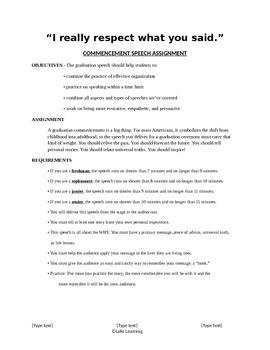 Commencement Speech Assignment