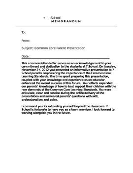 Commendation Memo for Teachers