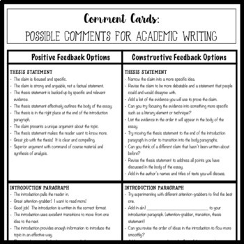 How To Write A Thesis Paragraph For An Essay  Example Of Thesis Statement For Argumentative Essay also Gay Marriage Essay Thesis Comment Cards For Academic Essay Writing Helping Students Give Quality  Comments Protein Synthesis Essay