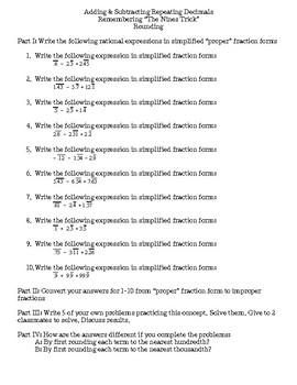 Adding & Subtracting Repeating Decimals & Decimal-Fraction Conversion
