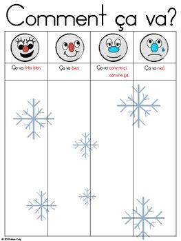 Comment ça va? Winter Activity Recording Sheet