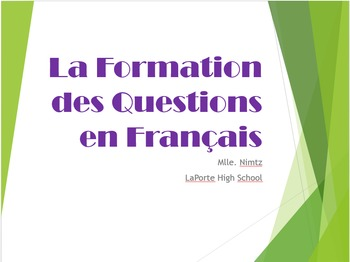 Comment écrire une question en français/ How to to form a question in French