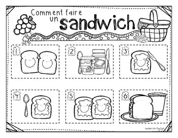 Comment faire un sandwich - French Procedural Writing & Sequencing