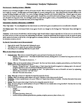 Commentary/ Explanation/ Analysis Handout