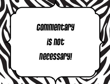 "Zebra ""Commentary is not necessary!"" sign"