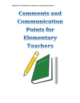 Comments for Communicating (progress reports, report cards