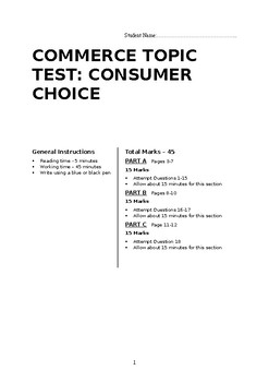 Commerce Consumer Choice Topic Test and Answers