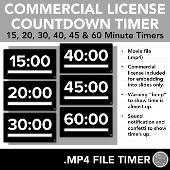 Commercial License Countdown Timers - .mp4 Video Files for PowerPoint