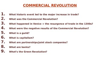 Commercial Revolution PowerPoint - NYS Global Regents Aligned