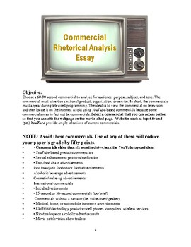 Commercial Rhetorical Analysis Essay Requirements