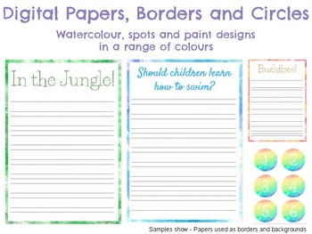 Commercial Use Digital Papers, Borders and Circles