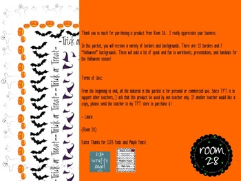"""Commercial Use: """"Halloween"""" Borders and Backgrounds"""