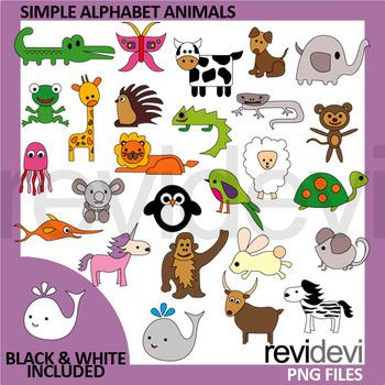 Commercial use clip art digital - Simple Alphabet Animals