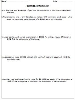 Percents and Commission Activity Worksheet