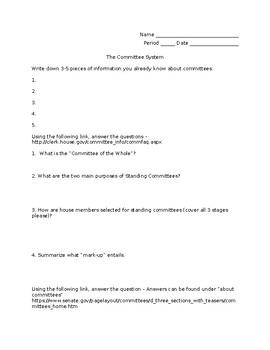 Committees Webquest