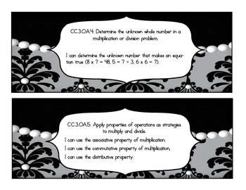 """Commom Core Math """"I Can"""" Statements ( Damask and Pearl)"""