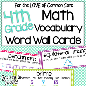 Commom Core Math Vocab Cards for 4th Grade
