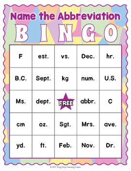 Common Abbreviations Bingo Game