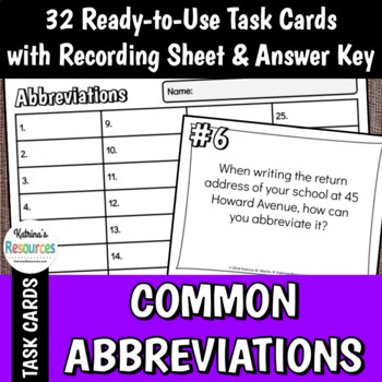 Common Abbreviations in American English Task Cards Set
