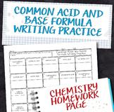 Common Acid and Base Formula Writing Practice Chemistry Homework Worksheet