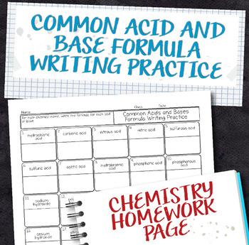 Common Acid And Base Formula Writing Practice Chemistry Homework
